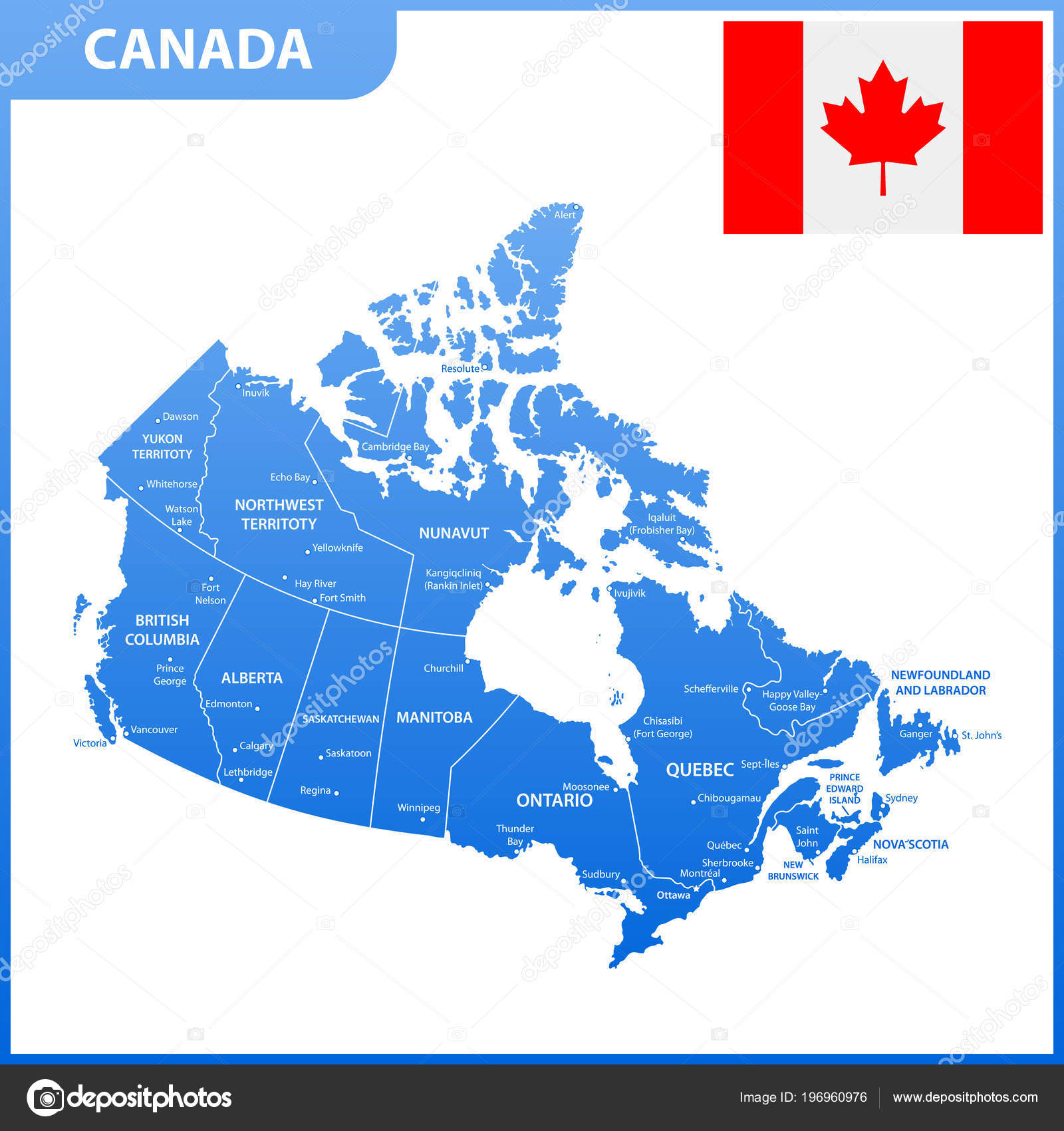 Map Of Canada With Cities And States.Detailed Map Canada Regions States Cities Capitals Stock Vector