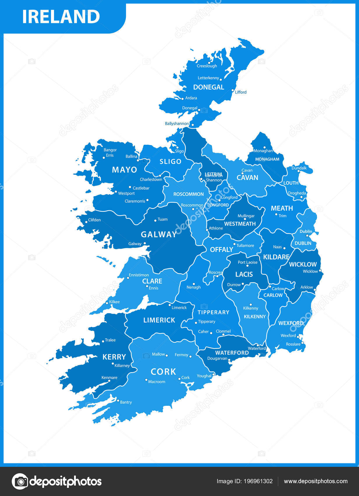 Cities In Ireland Map.Detailed Map Ireland Regions States Cities Capitals Stock Vector