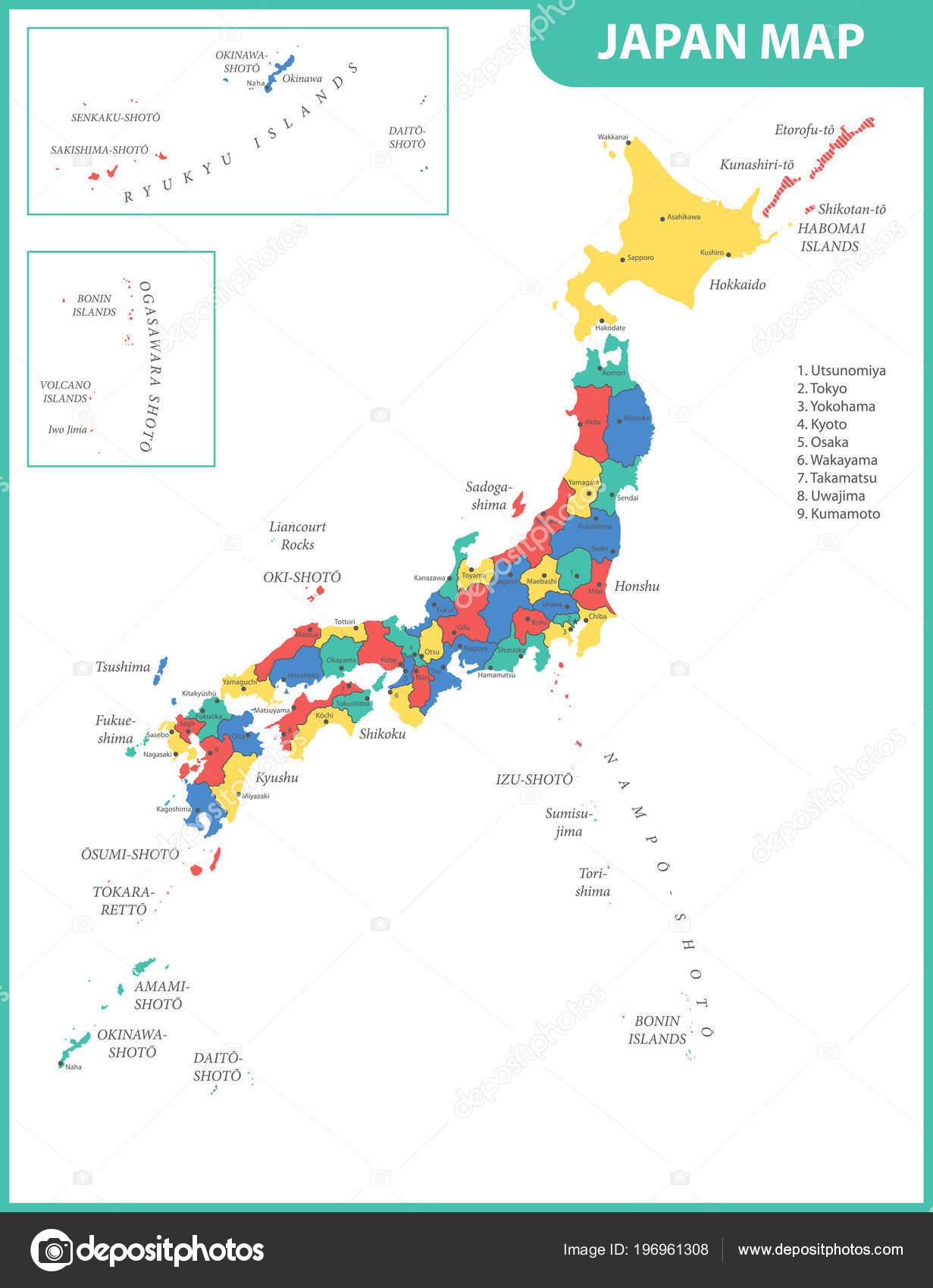 Mapa De Japon Ciudades.Mapa Detallado Del Japon Con Ciudades Regiones Estados