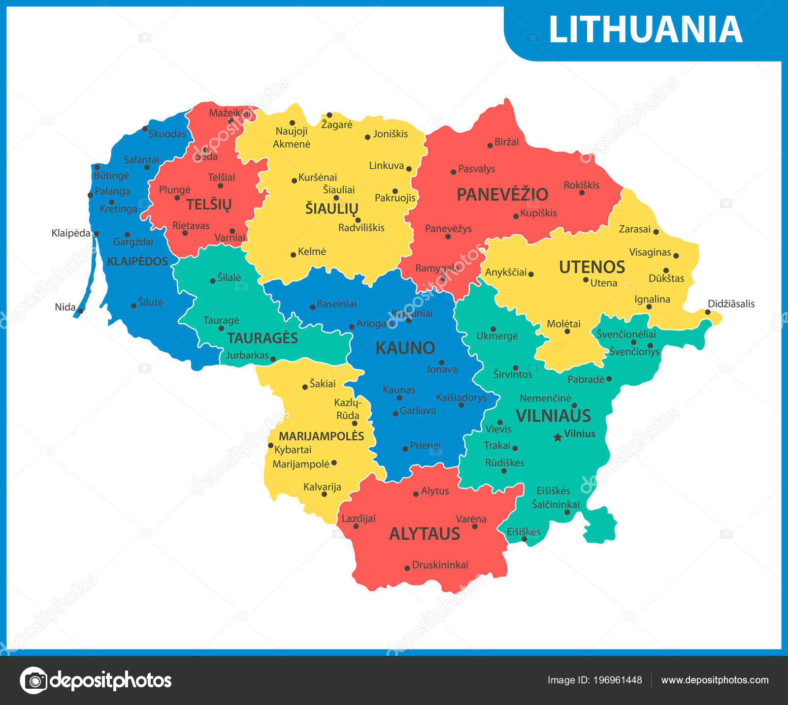 Detailed Map Lithuania Regions States Cities Capital Administrative ...
