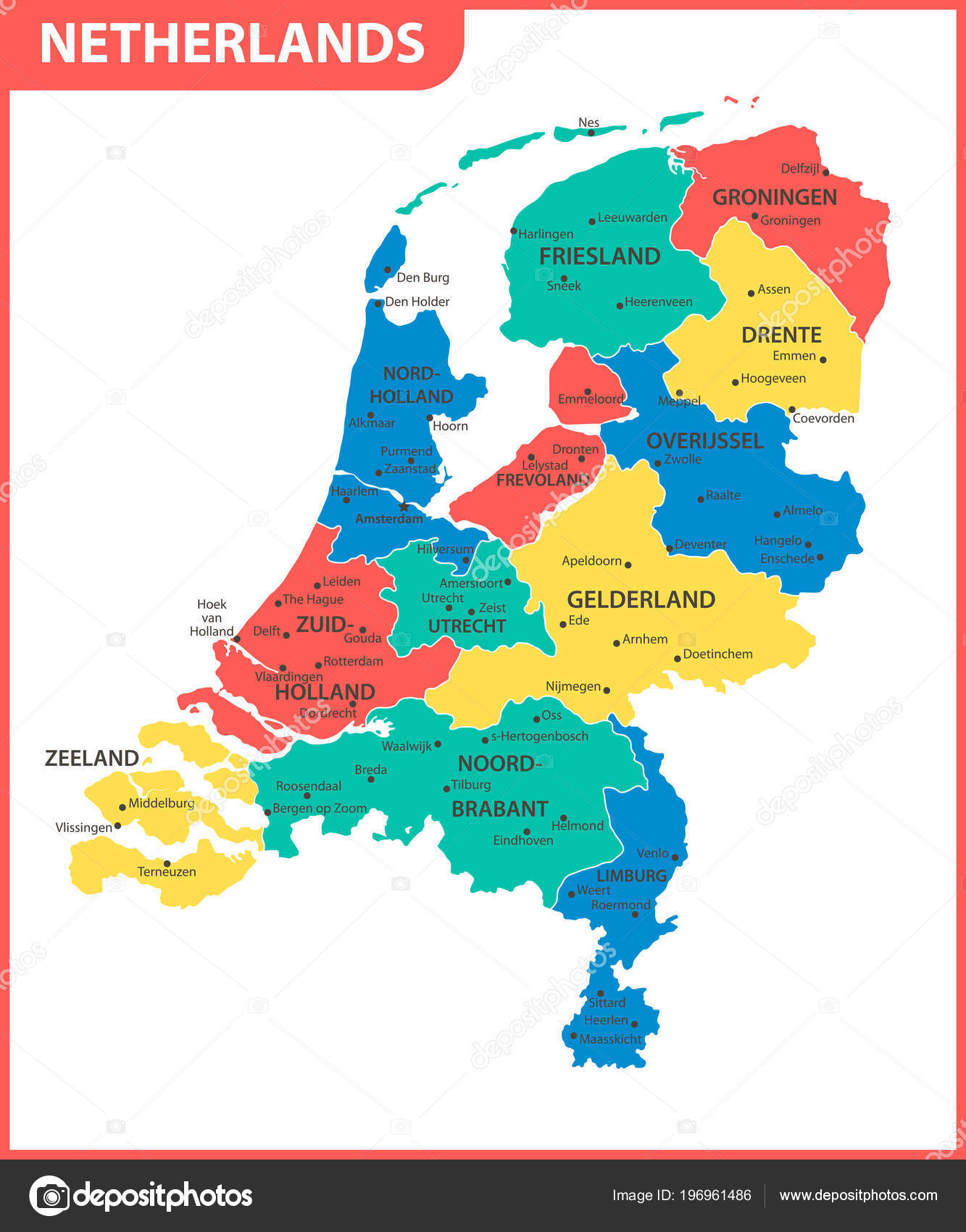 Detailed Map Netherlands Regions States Cities Capital ...