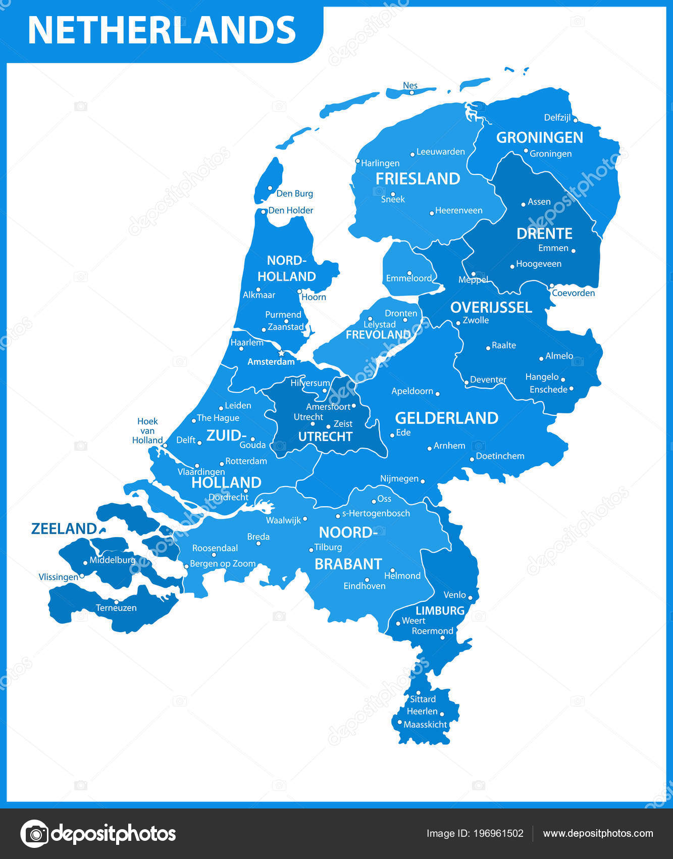 Detailed Map Netherlands Regions States Cities Capital