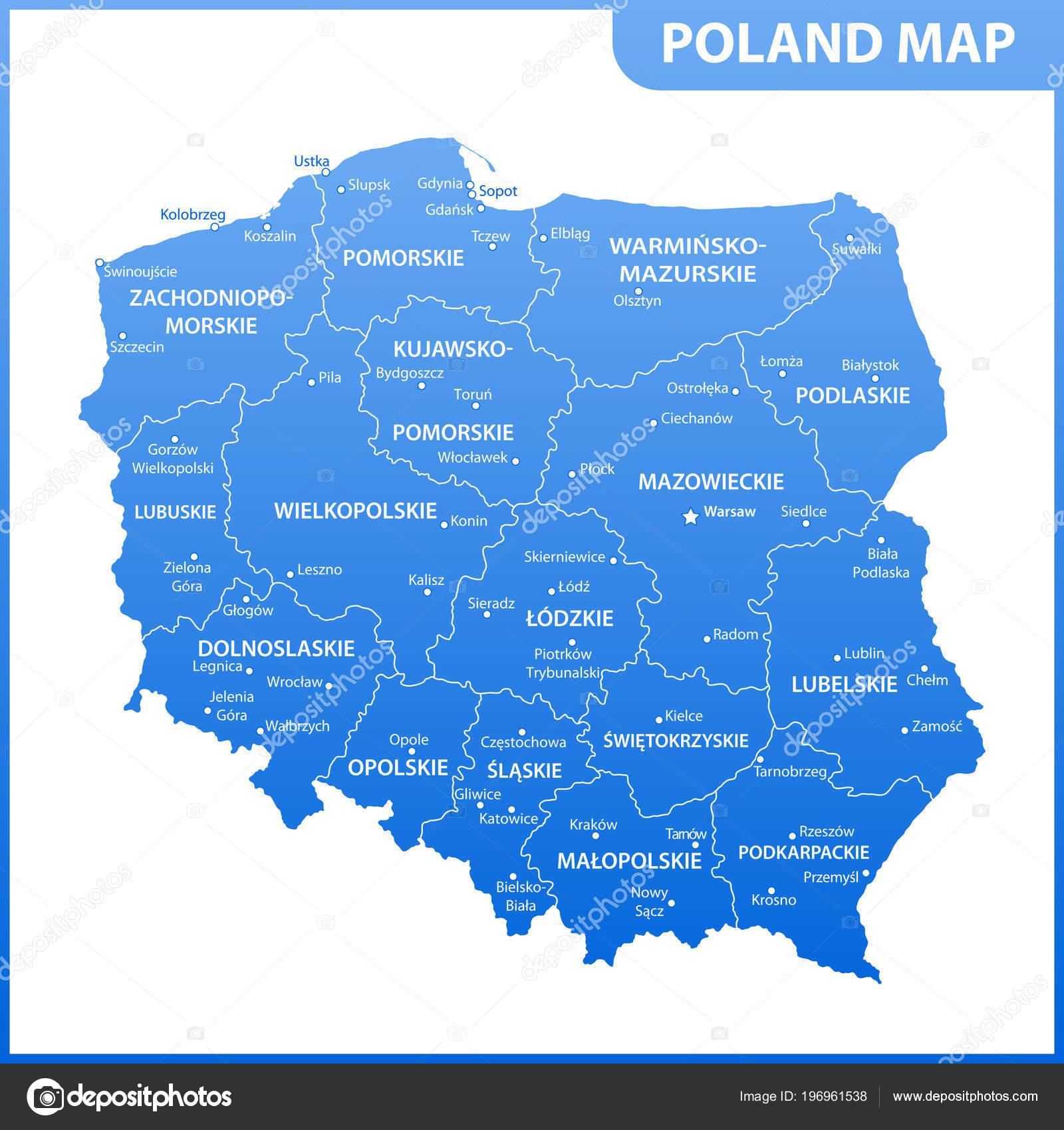 Szczegółowa Mapa Polski Regionów Lub Państw Miast Stolice Podział