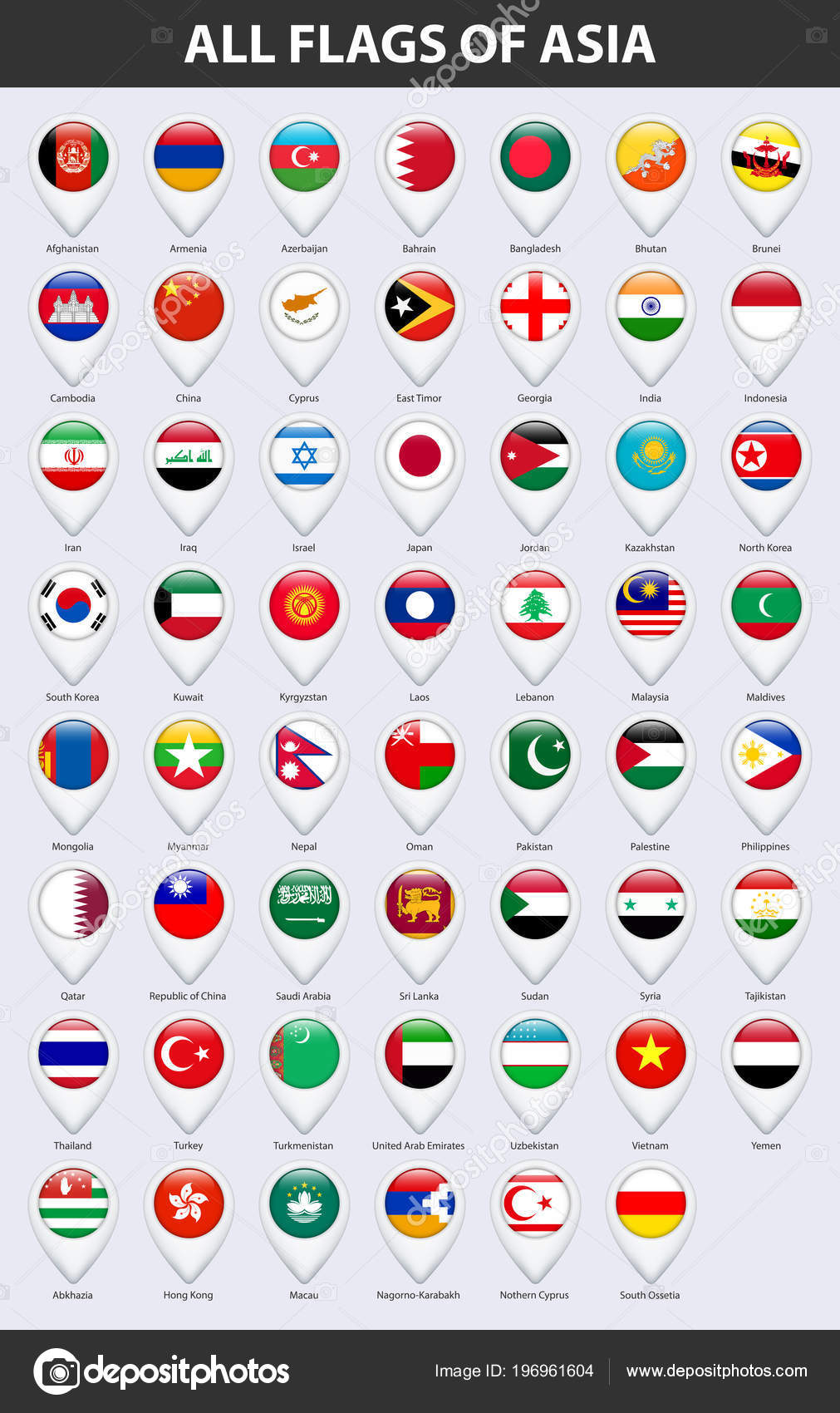 All Flags Countries Asia Pin Map Pointer Glossy Style — Stock Vector ...