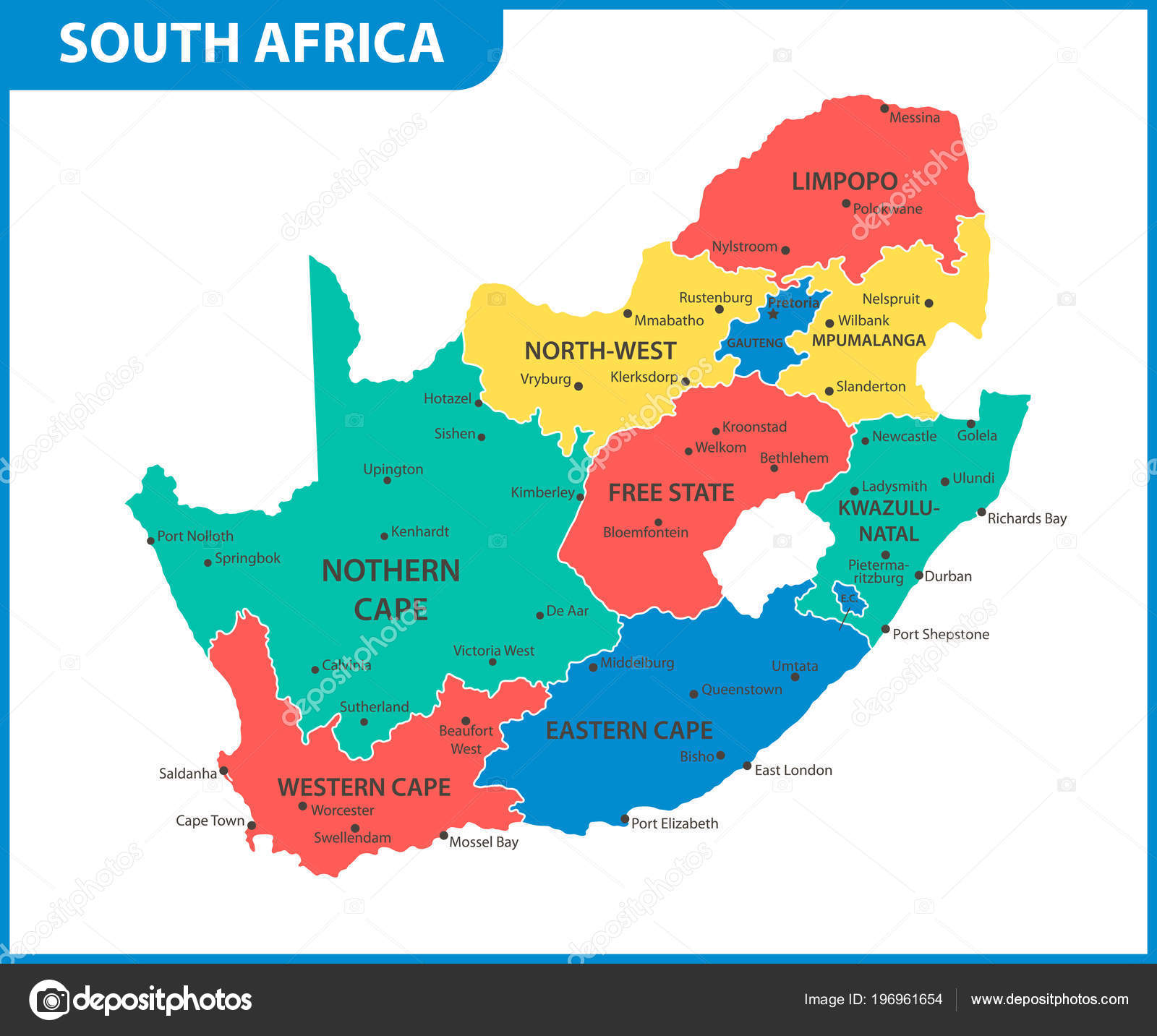 Detailed Map South Africa Regions States Cities Capital