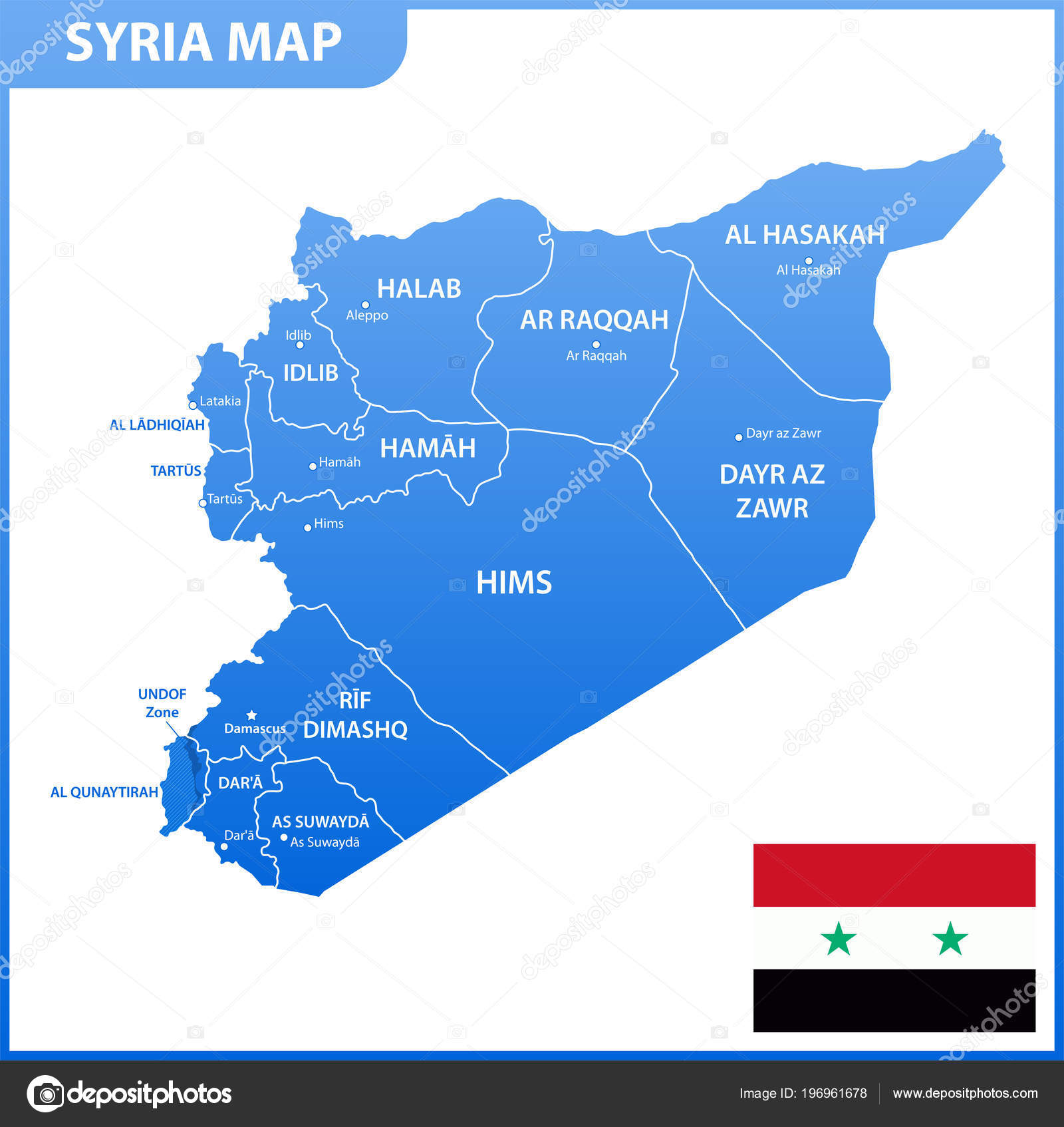 Syrien Karte Mit Städten.Die Detaillierte Karte Von Syrien Mit Den Regionen Oder Staaten