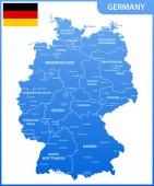 Fotografie Die detaillierte Karte von Deutschland mit Regionen oder Staaten und Städte, Hauptstädte, Nationalflagge