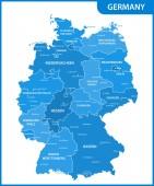 Fotografie Die detaillierte Karte von Deutschland mit den Regionen oder Staaten und Städte, Hauptstädte