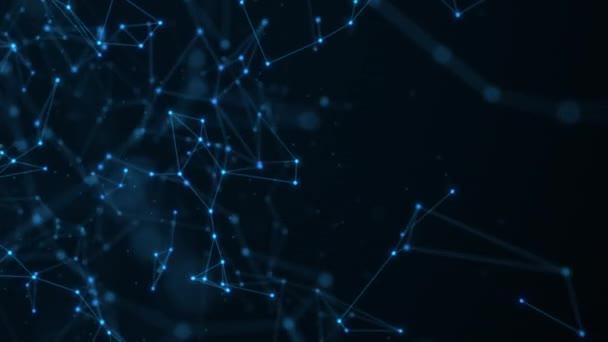 Abstrakter Technologiehintergrund aus animierten Linien und Punkten. Looping nahtlosen Raum geometrischen Hintergrund