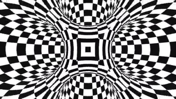 Absztrakt, kockás alagút optikai illúzió. Fekete-fehér csekk mozgási minta. Zökkenőmentes hurok háttér