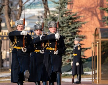 Russia. Moscow. Kremlin. Spring 2019. The ceremony of changing the guard of honor at the monument to the Unknown Soldier