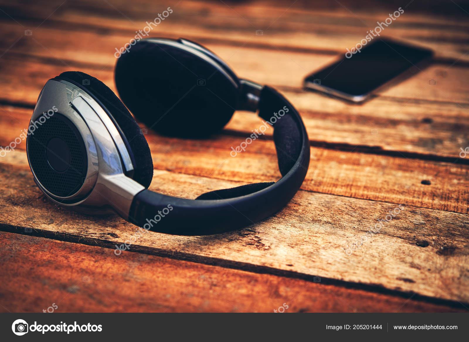 Degree View Set Wireless Headphones Mobile Phone Lying Rustic Wooden Stock Photo C Izelphotography 205201444
