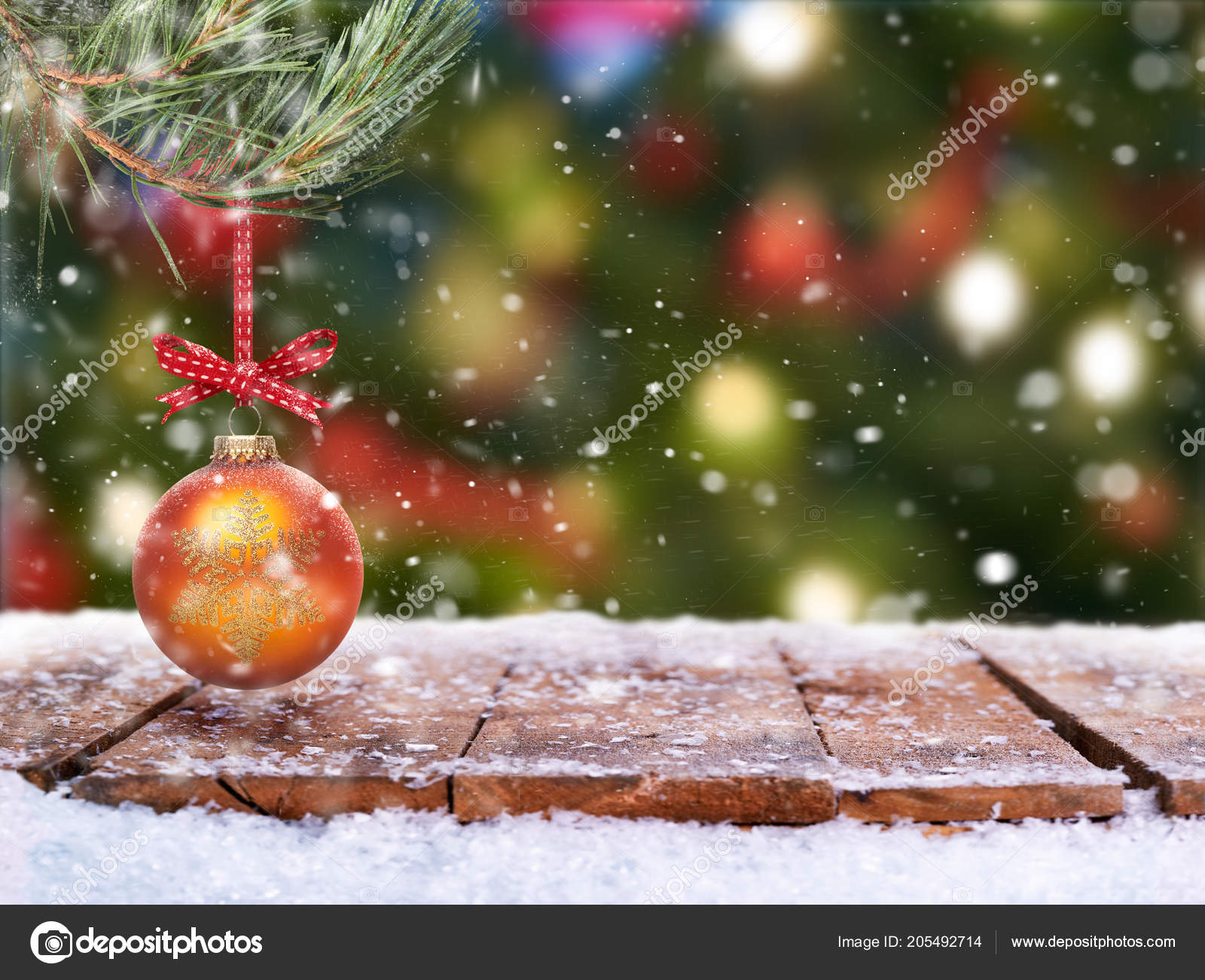 Traditional festive Christmas tree decorations background