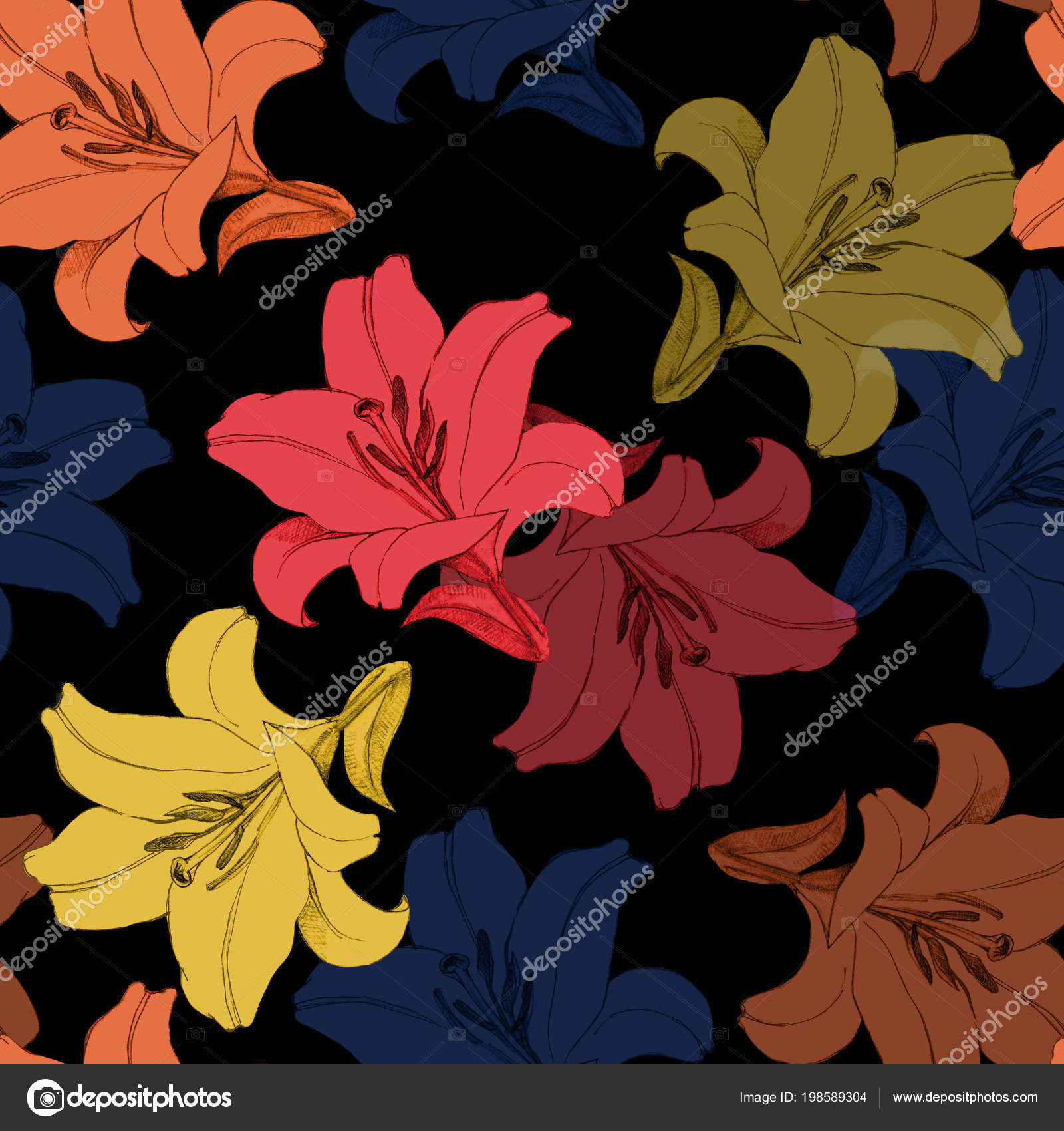 Different Color Flowers Lily Decorative Seamless Pattern Black ...