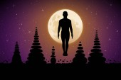 Fotografia Yoga sulla notte di luna. Illustrazione di vettore con la siluetta di yogi in posa di tadasana e piramidi di pietre. Luna piena nel cielo stellato