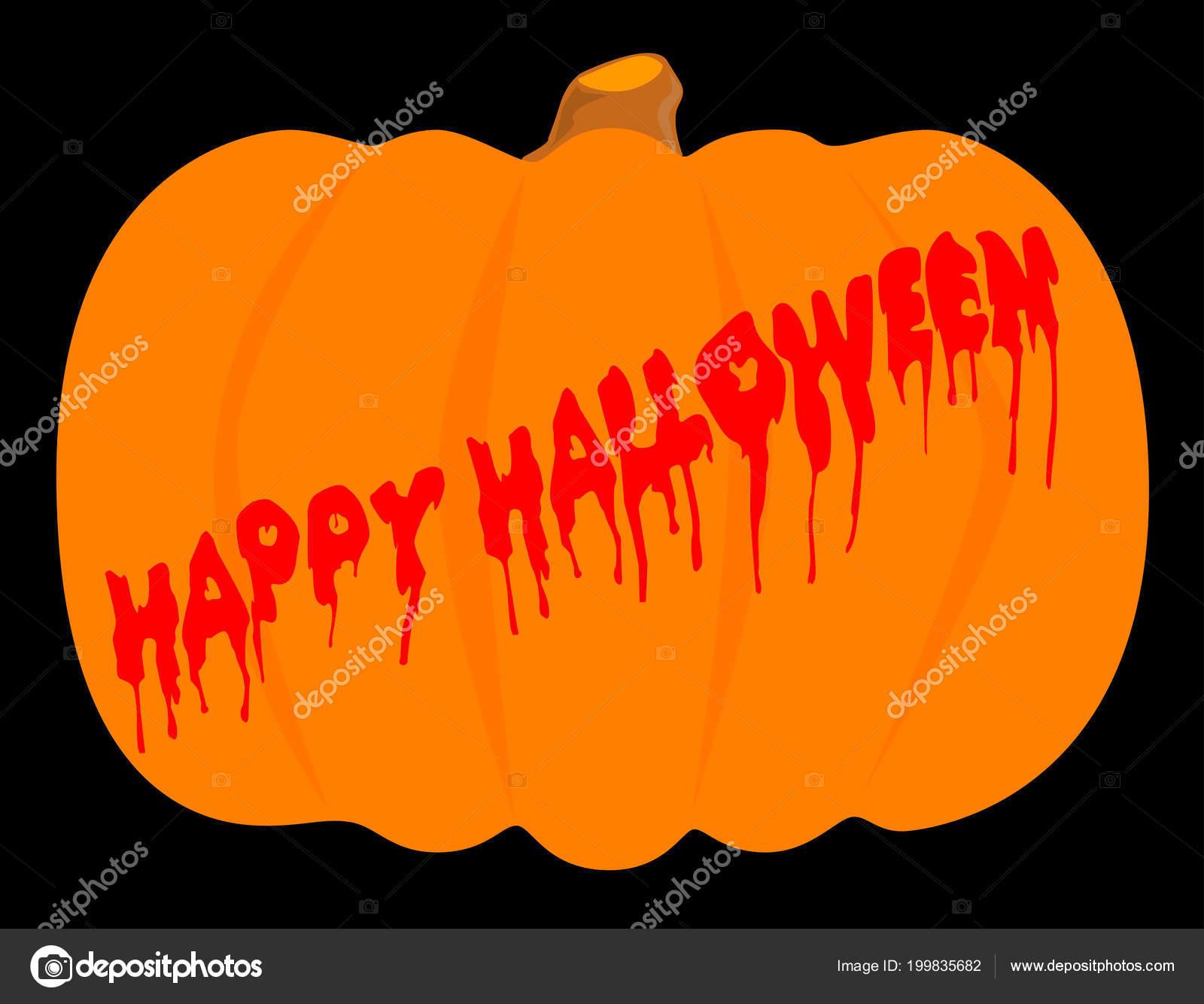 Evil Halloween Pumpkin Blood Running Message Stock Diagram Of A Vector