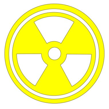 Radiation signin yellow isolated on a white background