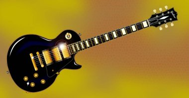 The definitive rock and roll guitar in black, isolated over a gold and brown honeycomb background.