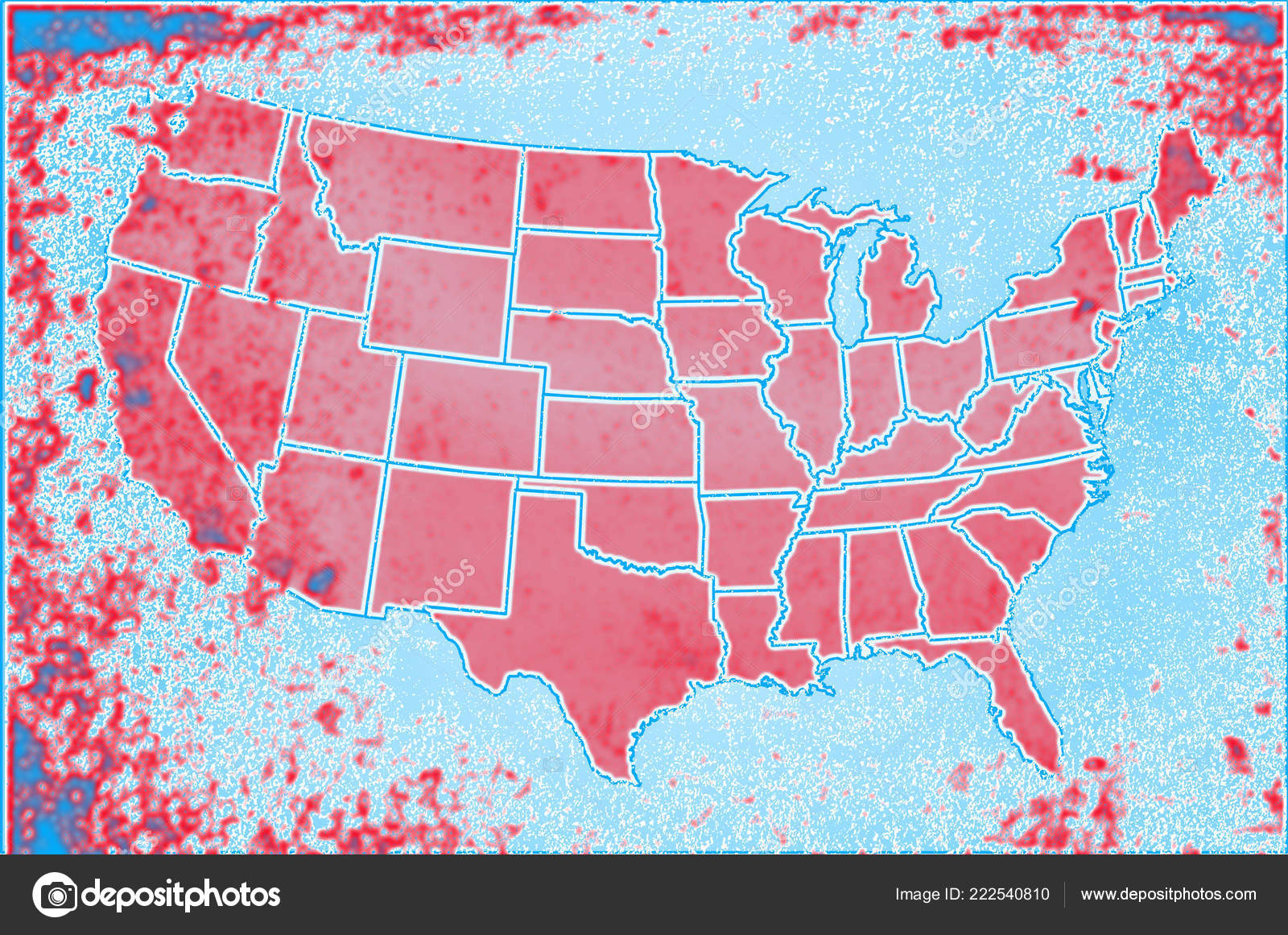 Outline Map United States America Showing States All ...
