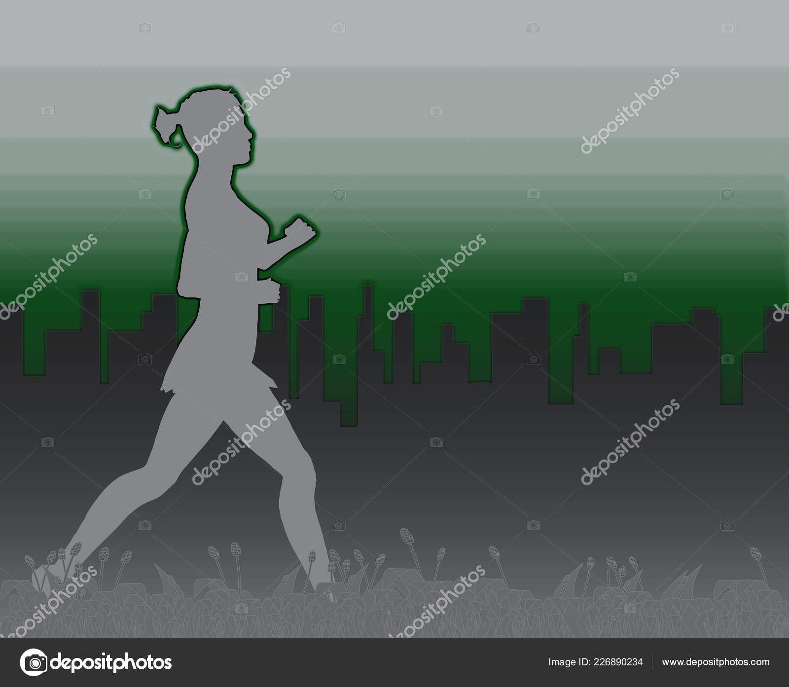 Grass Footer Overlooked Misty Morning Cityscape Jogger Stock Photo