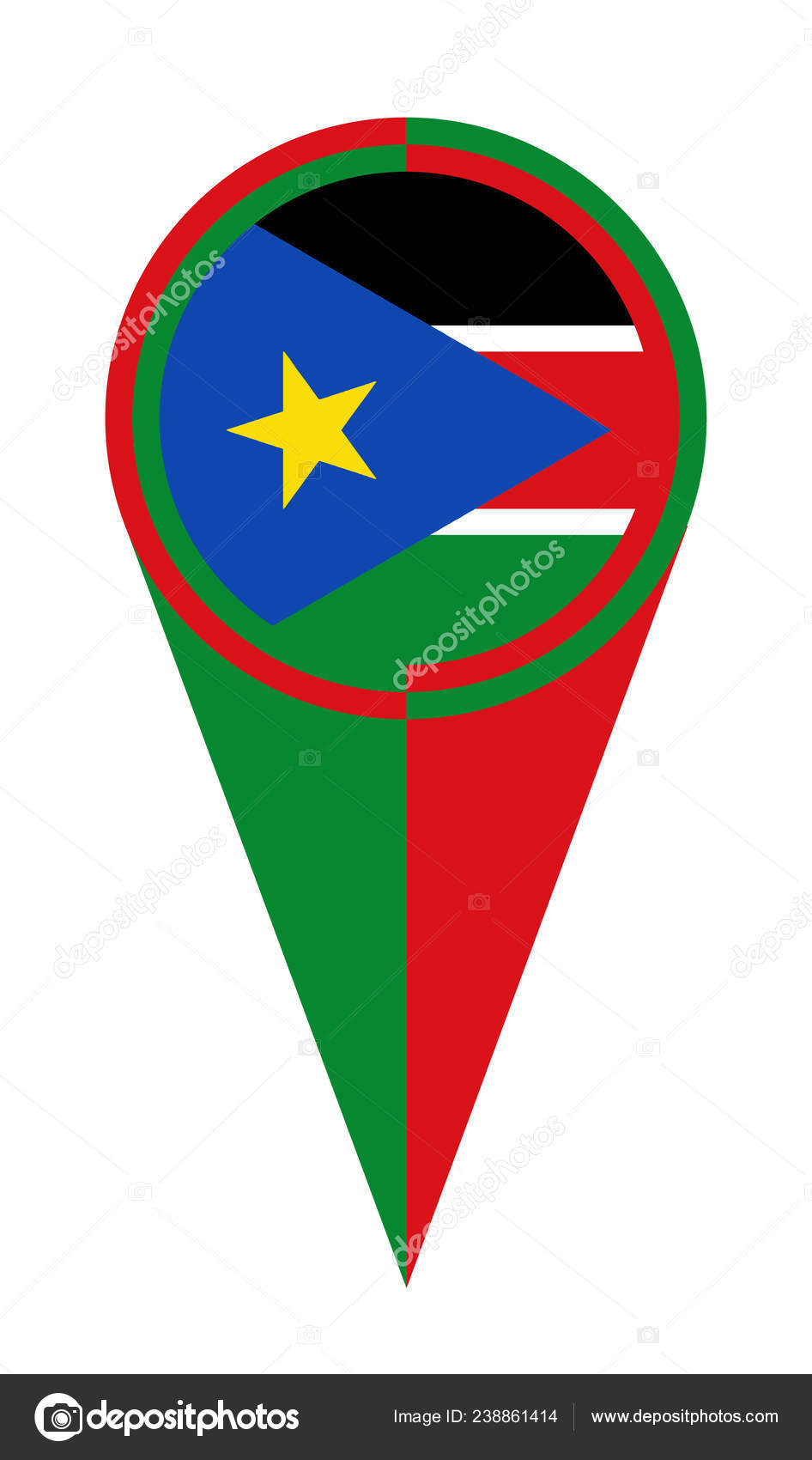 South Sudan Map Pointer Location Flag — Stock Vector ...