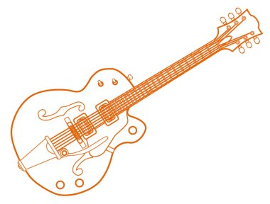 Orange Line Drawing Country and Western Guitar