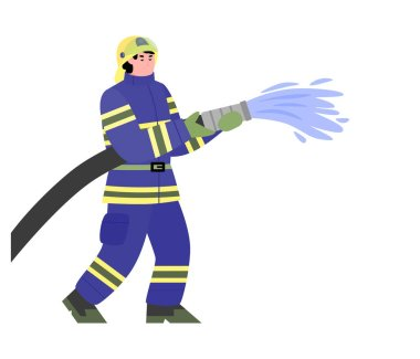 Firefighter kneeling with fire hose fighting fire and smoke set. Fireman wearing uniform rescueing people, flat cartoon vector illustration isolated white background icon
