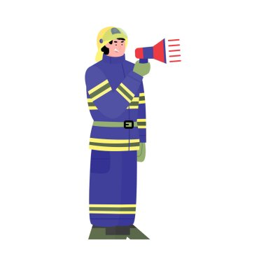 Cartoon character of a firefighter with a megaphone in his hands. A uniformed firefighter warns of an emergency or danger. Flat vector illustration isolated on a white background. icon