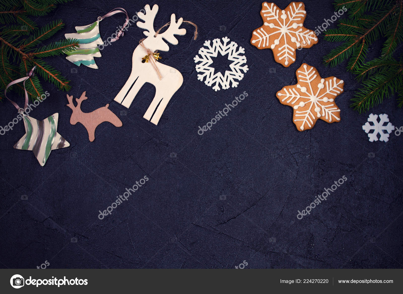 christmas and new year border or frame on black background winter holidays concept greeting template top view toned photo by skylinefree