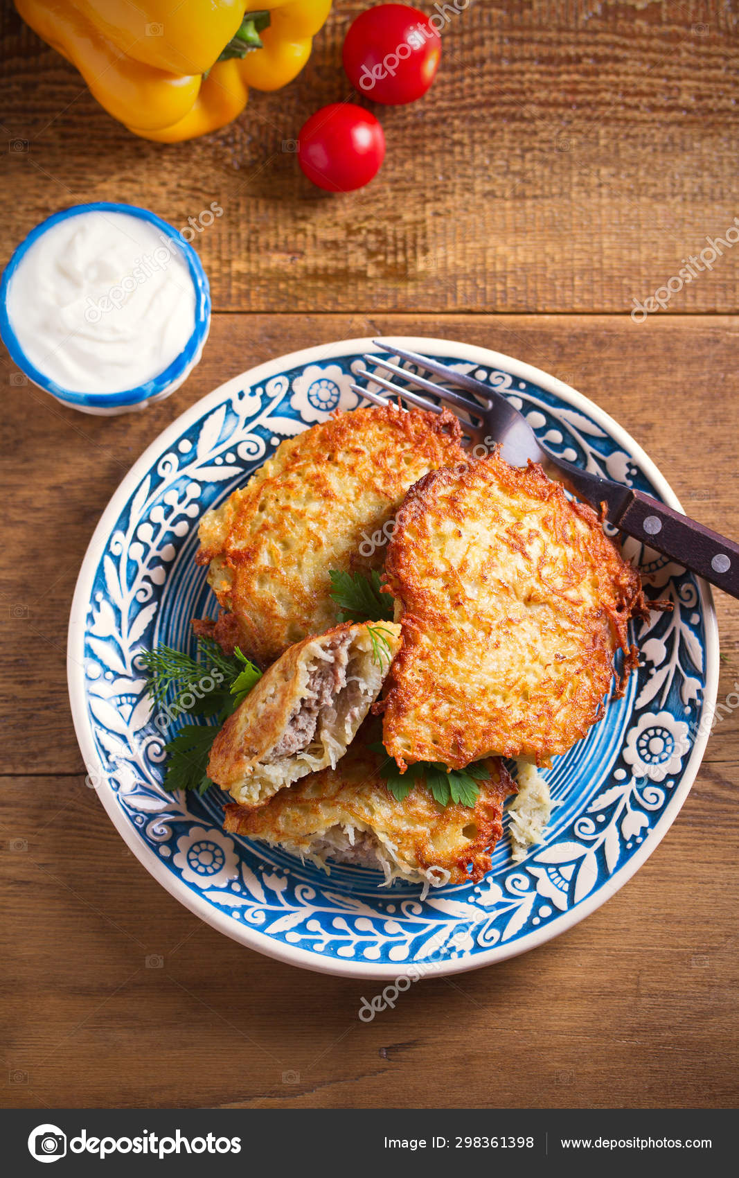 POTATO PANCAKES FILLED MEAT VEGETABLE FRITTERS STUFFED MEAT