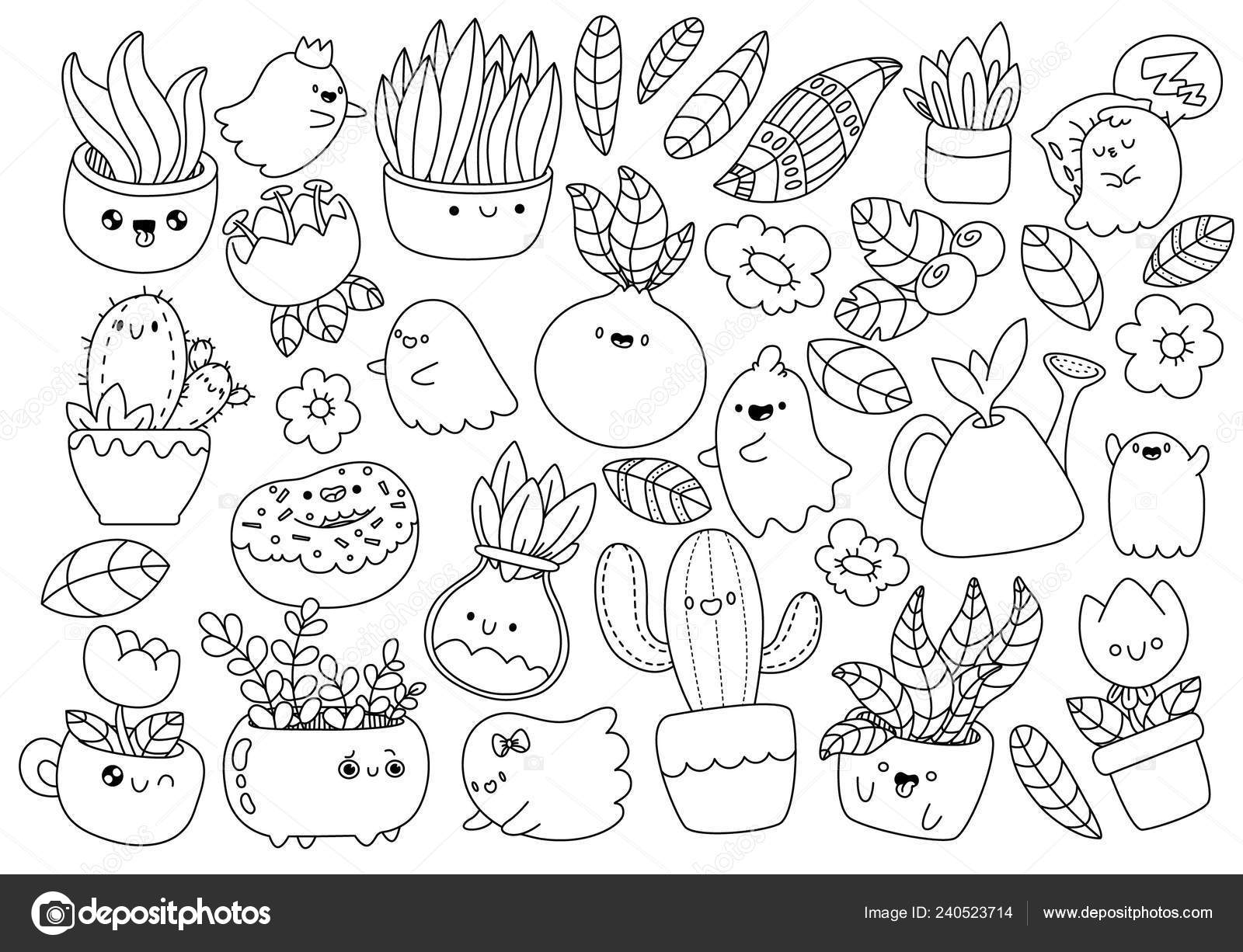 Plantas Y Monstruos Cute Dibujos Animados Estilo Kawaii Anti