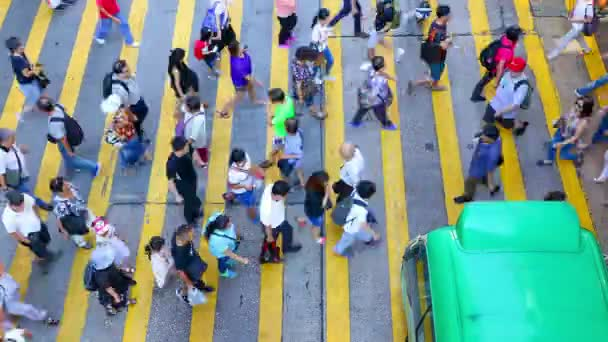 Busy pedestrian crossing at Hong Kong - Time Lapse