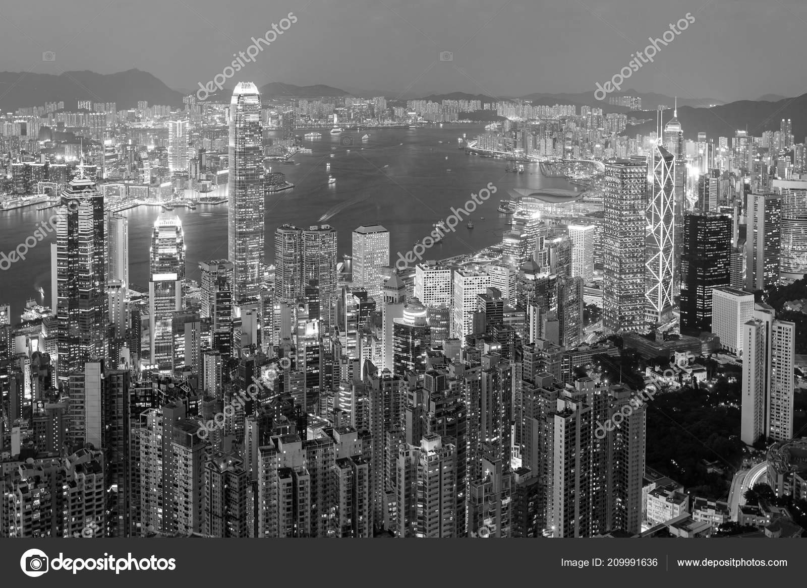 Hong Kong Night View Victoria Peak Black White Stock Photo