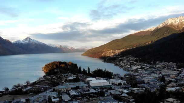 Scenic aerial view of Queenstown during sunrise