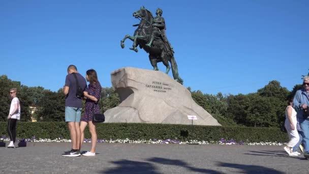 Petrohrad, Bronzový jezdec, památník Petra Velikého, letní slunečný den. Rusko, Petrohrad Červenec 2020