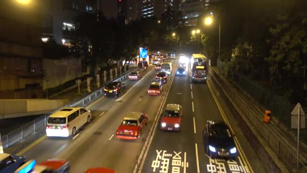 Car traffic in Hong Kong evening. Hong Kong, China November 2019