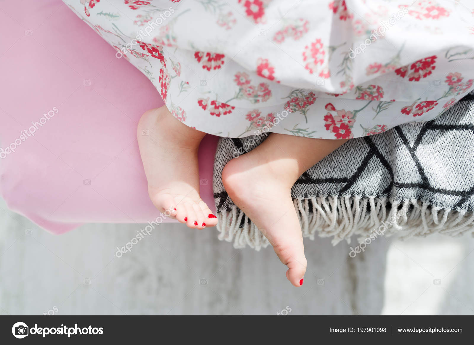 Consider, little girl sleeping in bed feet above told