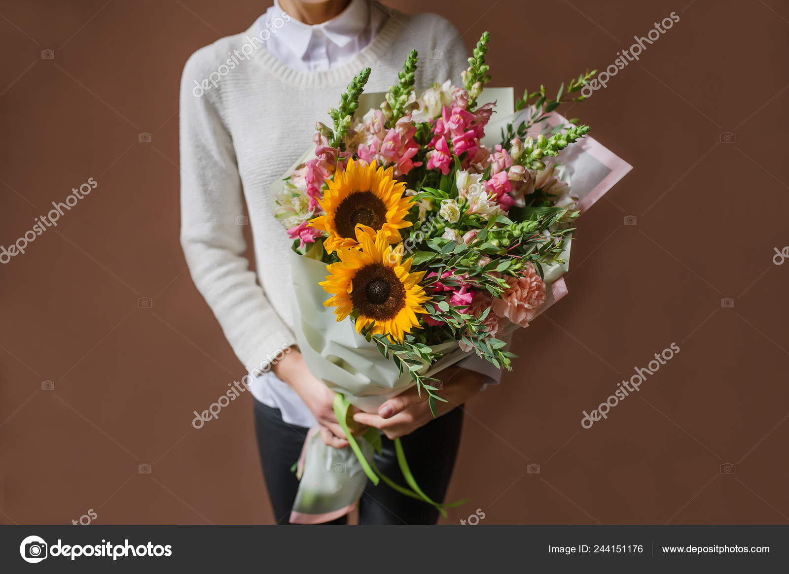 Woman Holding Bouquet Beautiful Flowers Hands March Woman Day Sunflower Stock Photo C Avk78 244151176