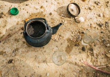 Old teapot closeup