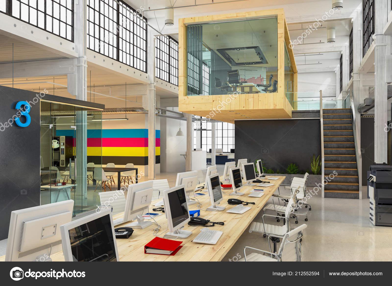 Rendu architecture moderne bureau immeuble bureaux plan ouvert
