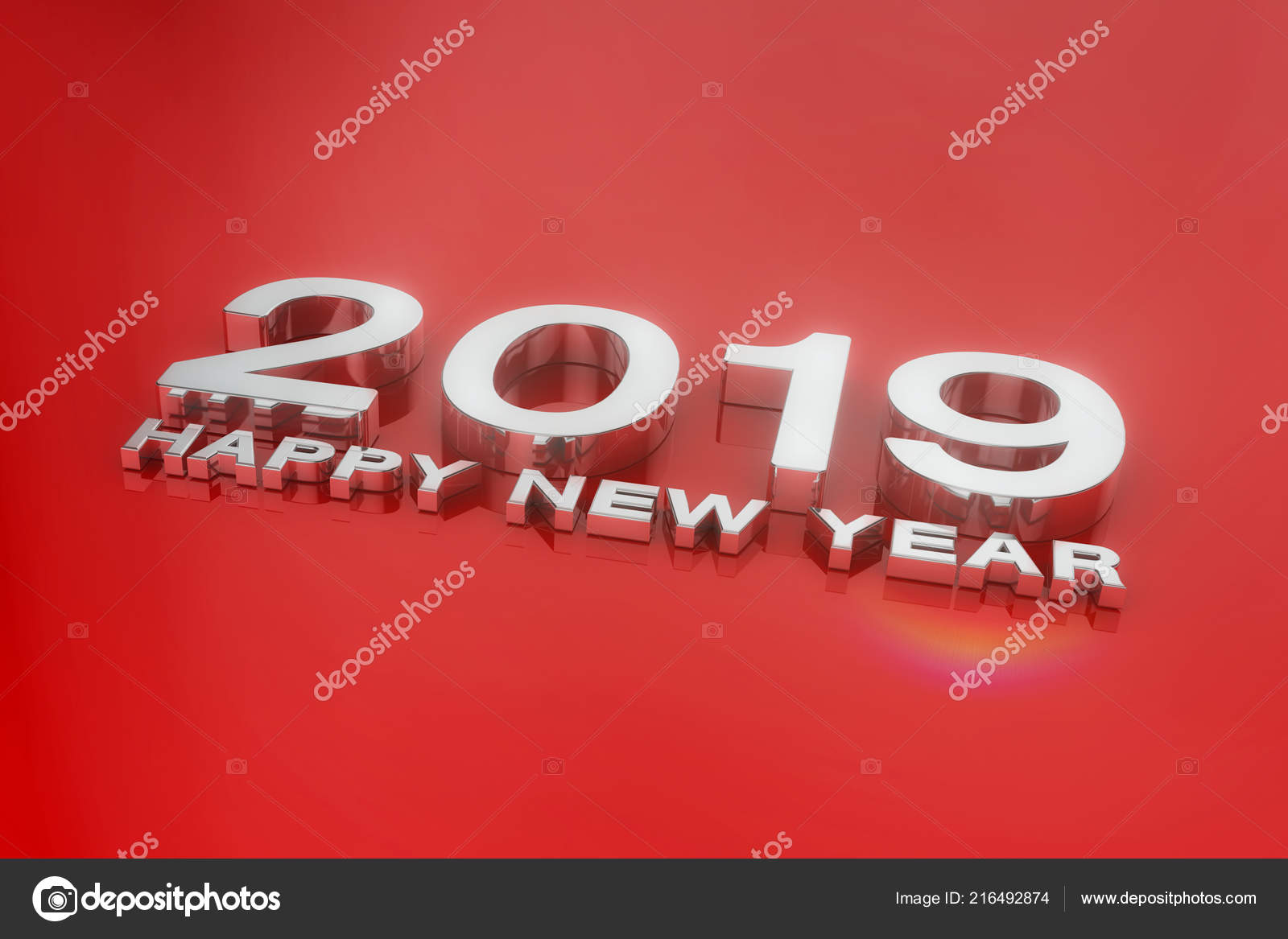 3d render of the number 2019 and the message happy new year in silver over red in silver over red background photo by marog pixcells