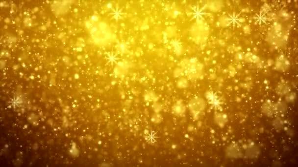 Video animace padající sněhové vločky nad zlatým světlem zářící částice Bokeh pozadí - dovolená concept - vánoční
