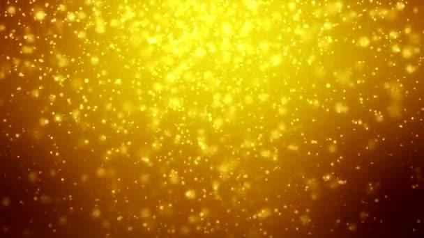 Leeső hópelyhek felett arany fény a fényes részecskék Bokeh háttér - holiday koncepció - karácsonyi lenyügöző animációs