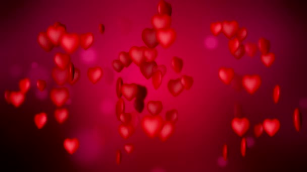 Video animace červené srdce růžové pozadí - Valentýn.