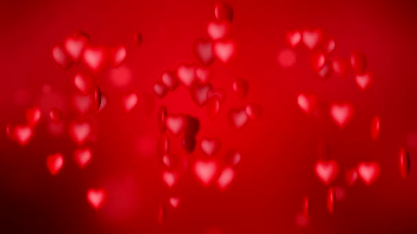 Video animation of red hearts over red dark background - valentines day.