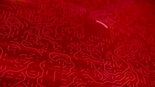 videoanimation, nyomtatott áramkör, piros a Cpu-központi feldolgozó egység hasábburgonya és az üzenet Ai mesterséges intelligencia technológia. -Elektronika és technológia koncepció - mélységélesség