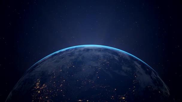 Videoanimace planety země-proletět vesmírem a východem slunce