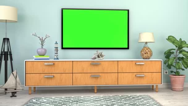 video animace-interiér skandinávského obývacího pokoje s bočním a plochacím televizorem a námořními dekoracemi-zelená obrazovka