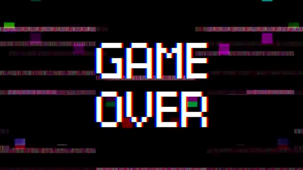 Videó animáció a televízió képernyőjén a zaj és az üzenet játék vége. Generált fénylik hatása. Absztrakt háttér.