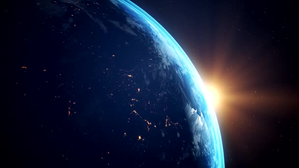 Video animation of planet Earth - flying through space